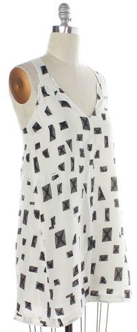DEREK LAM 10 CROSBY 10 CROSBY DEREK LAM Ivory Black Abstract Silk Sleeveless Shift Dress