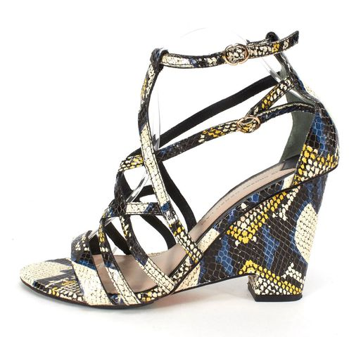 DEREK LAM 10 CROSBY 10 CROSBY DEREK LAM Blue Black Multi Python Embossed Leather Wedges