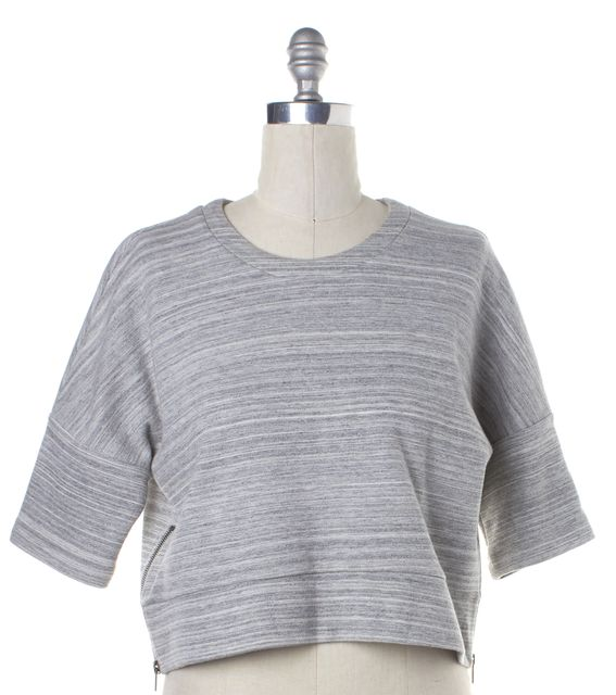 DEREK LAM 10 CROSBY 10 CROSBY DEREK LAM Gray Striped Cropped Side Zip Pull Over Sweater