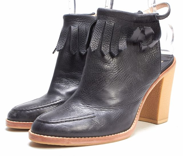 DEREK LAM 10 CROSBY Black Leather Fringe Detail Sling Back Ankle Boots