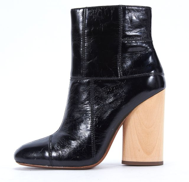 DEREK LAM 10 CROSBY Black Antique Shiny Patent Leather Emery Boots
