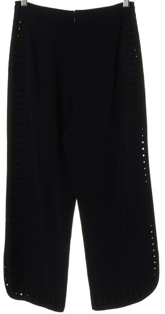 DEREK LAM 10 CROSBY Navy Blue Black Embroidered Grommet Trousers