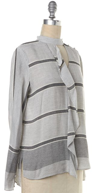 DEREK LAM 10 CROSBY Gray Striped Ruffle Front Trim Long Sleeve Blouse Top