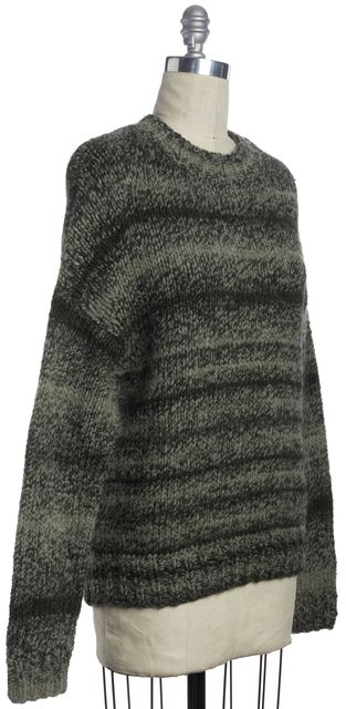 DEREK LAM 10 CROSBY Black Gray Tweed Wool Blend Crewneck Oversized Sweater