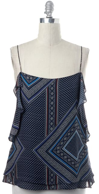 DEREK LAM 10 CROSBY Blue White Multi Geometric Ruffle Silk Tank Blouse