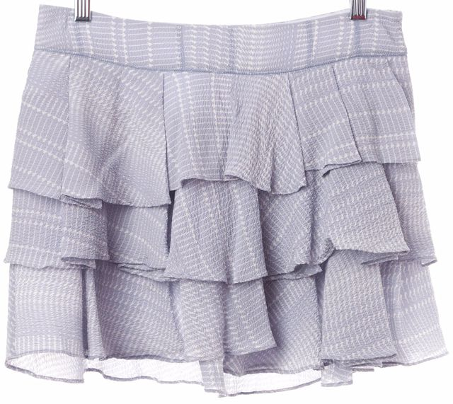 DEREK LAM 10 CROSBY Blue White Arrow Print Crinkle Silk Tiered Mini Skirt