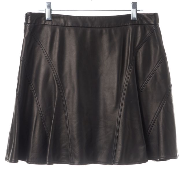 DEREK LAM 10 CROSBY Black Lamb Leather Full Skirt
