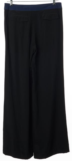 DEREK LAM 10 CROSBY Navy Blue Black Silk Colorblock Wide Leg Dress Pants