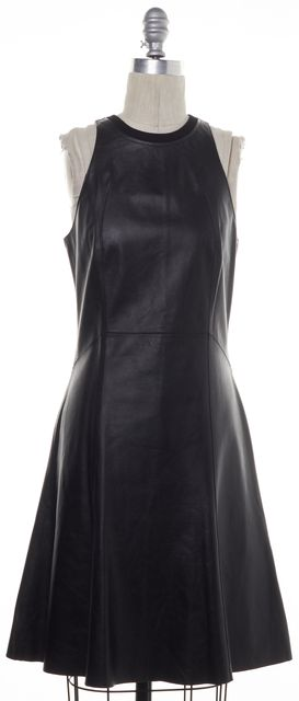 DEREK LAM 10 CROSBY Black Leather Casual Fit & Flare Sleeve-less Dress