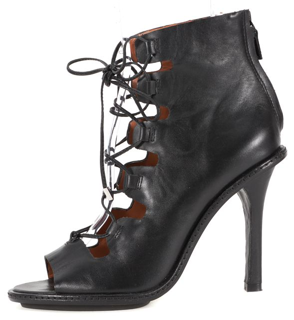 DEREK LAM 10 CROSBY Black Leather Lace Up Open Toe Booties