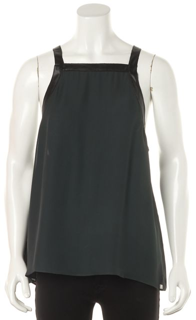 DEREK LAM 10 CROSBY Bottle Green Silk Black Trim Top