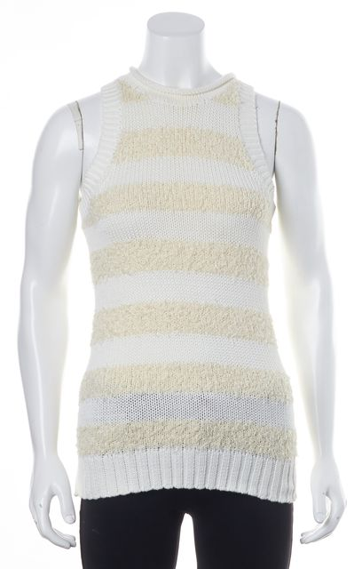 DEREK LAM 10 CROSBY White Striped Knit Top