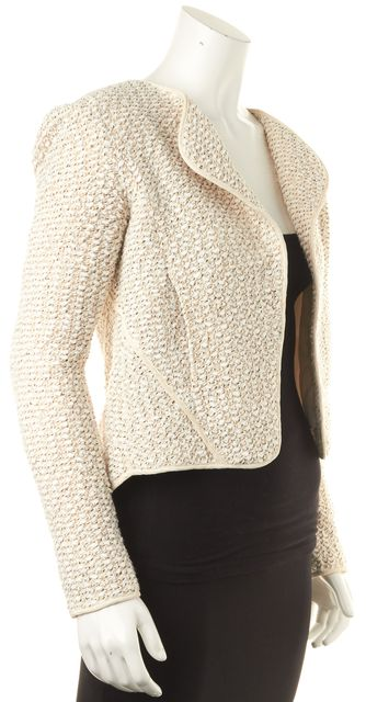 DEREK LAM 10 CROSBY Cream Beige Boucle Collarless Basic Jacket