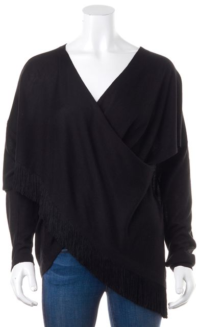 DEREK LAM 10 CROSBY Black Fringe Silk V-Neck Sweater