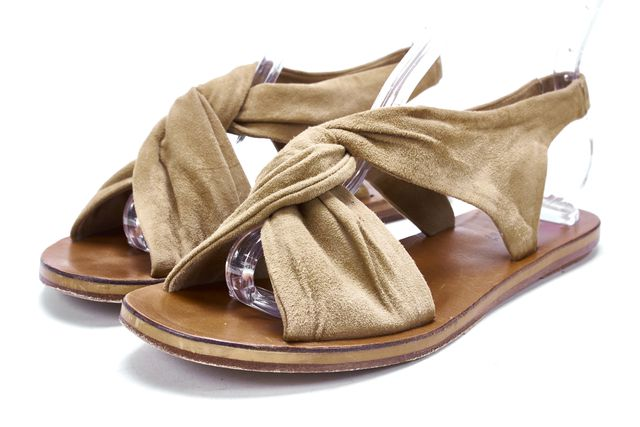 DEREK LAM 10 CROSBY Brown Beige Suede Twist Sling Back Casual Sandals