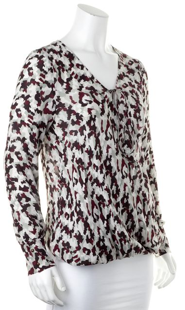 DEREK LAM 10 CROSBY Purple Red Green Silk Camo Print Graphic Blouse