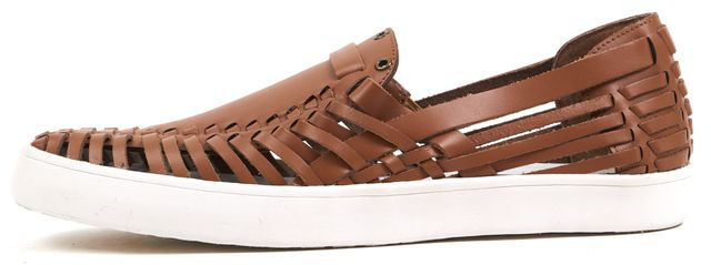 DEREK LAM 10 CROSBY Brown Woven Leather Cutout Lia Slip On Sneakers