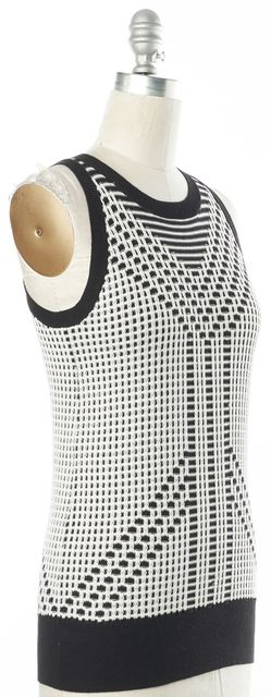 DEREK LAM 10 CROSBY Black White Abstract Silk Knit Sleeveless Top