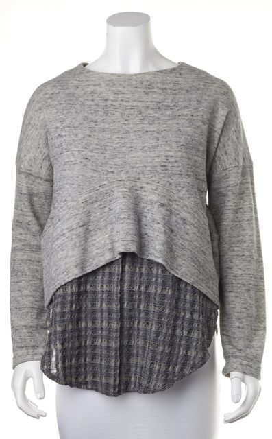 DEREK LAM 10 CROSBY Gray Casual Layered Split Side Sweater Knit Blouse Top