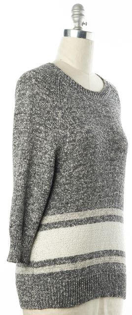 DEREK LAM 10 CROSBY Gray White Striped Cotton Chunky Knit Crewneck Sweater