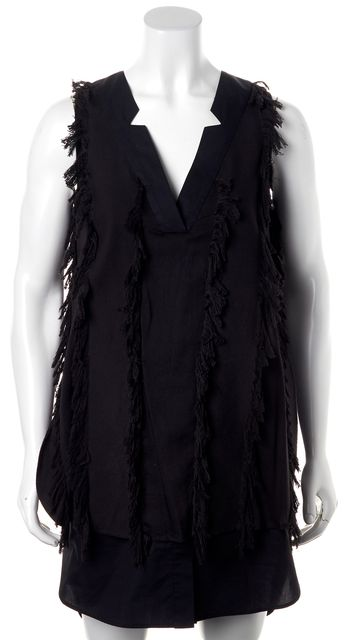 DEREK LAM 10 CROSBY Black Fringe Sheath Dress