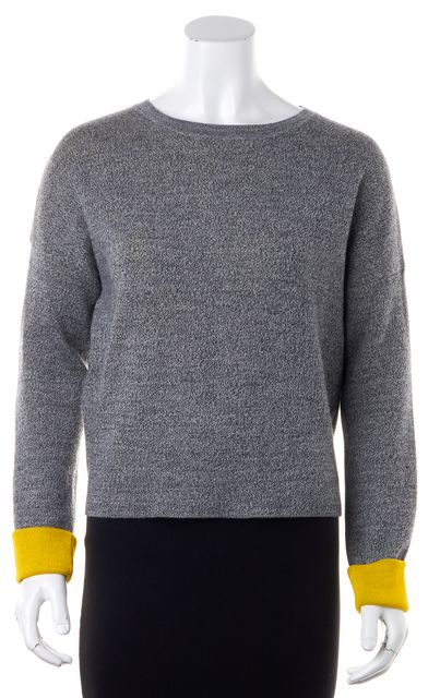 DEREK LAM 10 CROSBY Gray Wool Boat Neck Casual Knit Cropped Sweater