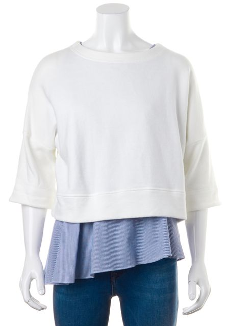 DEREK LAM 10 CROSBY Ivory Blue Striped Layered Crewneck Knit Top