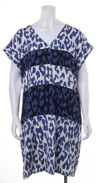 DEREK LAM 10 CROSBY Blue White Animal Printed Silk Open Back Shift Dress
