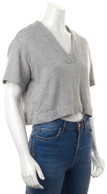 DEREK LAM 10 CROSBY Gray Knit Jersey Terry Lined Relaxed Cropped V-Neck Top