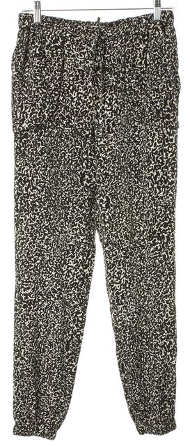 DEREK LAM 10 CROSBY Black White Printed Stretch Silk High Rise Jogger Pants