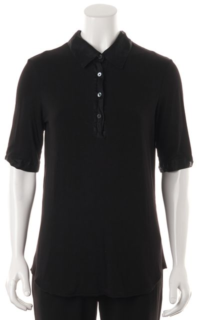 DEREK LAM 10 CROSBY Black Short Sleeve Polo Shirt Top