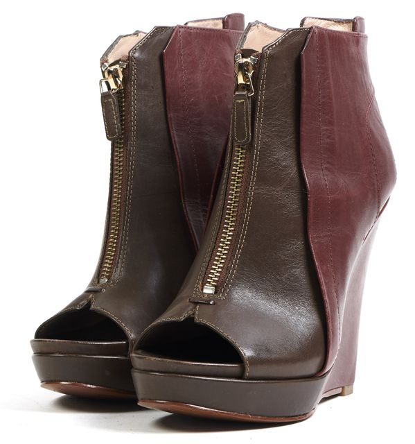 DEREK LAM 10 CROSBY Brown Burgundy Leather Open Toe Ankle Boots