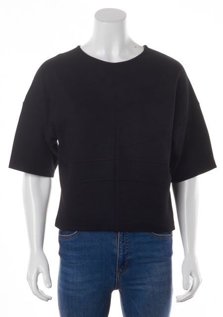DEREK LAM 10 CROSBY Black Crewneck Short Sleeve Blouse Top