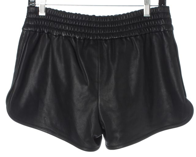 DEREK LAM 10 CROSBY Black Leather Elastic Waist Casual Shorts