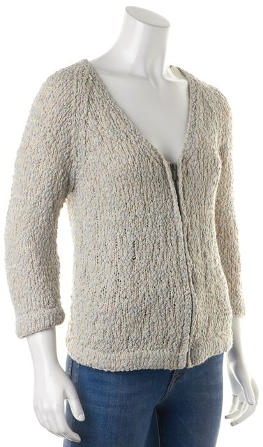 DEREK LAM 10 CROSBY Beige Metallic Gray Wool Cardigan Top