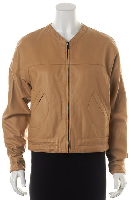 DEREK LAM 10 CROSBY Beige Lamb Leather Pocket Front Zip Up Bomber Jacket