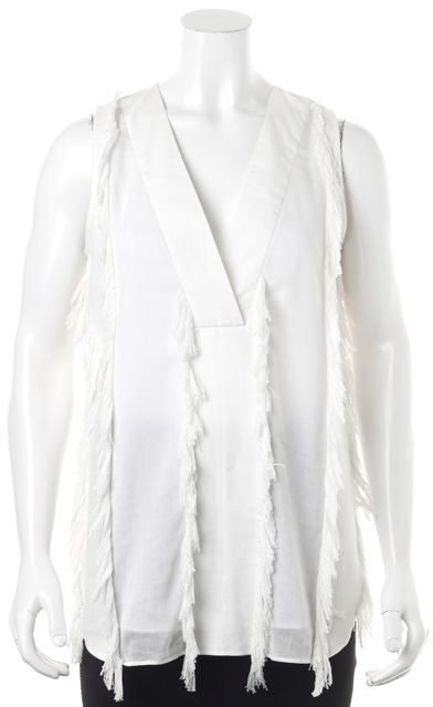 DEREK LAM 10 CROSBY White Embellished Blouse Top