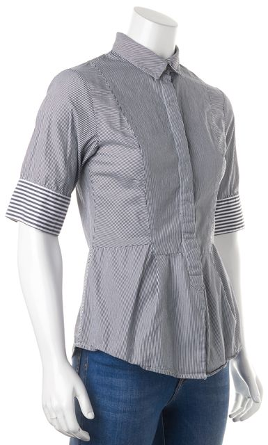 DEREK LAM 10 CROSBY White Gray Striped Button Down Shirt