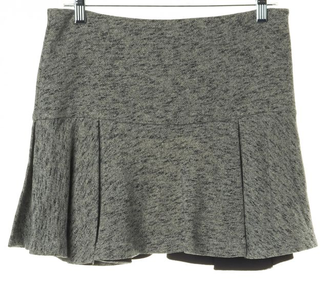DEREK LAM 10 CROSBY Heather Gray Cotton Terry Lined Pleated Mini Skirt