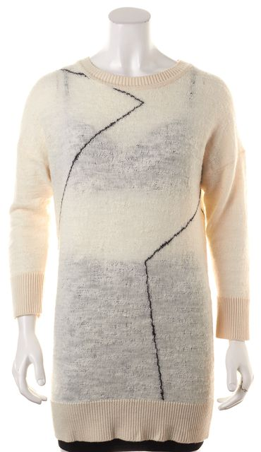 DEREK LAM 10 CROSBY White Black Geometric Intarsia Wool Long Tunic Knit Top