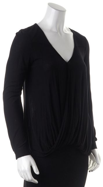 DEREK LAM 10 CROSBY Black Draped Wrap Effect Long Sleeve Basic T-Shirt