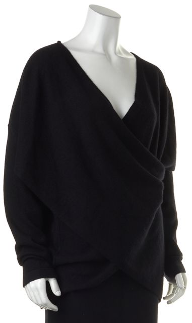 DEREK LAM 10 CROSBY Black Cashmere V-Neck Cross Cut Out Sweater