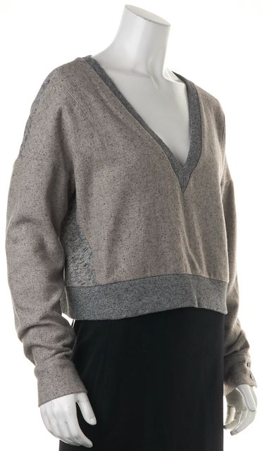 DEREK LAM 10 CROSBY Gray Blue V-Neck Long Sleeve Crop Sweater