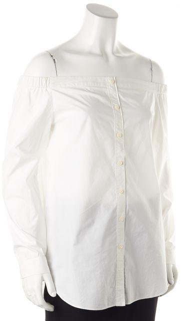 DEREK LAM 10 CROSBY White Off-Shoulder Button Down Shirt Top