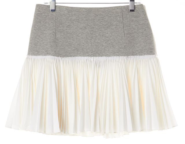 DEREK LAM 10 CROSBY Gray White Color Block Pleated A-Line Skirt
