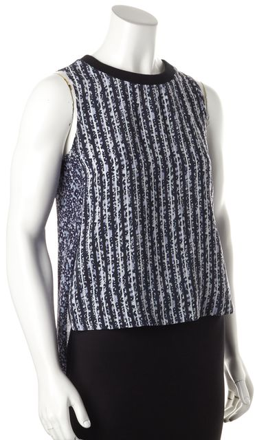 DEREK LAM 10 CROSBY Blue Striped Silk Top
