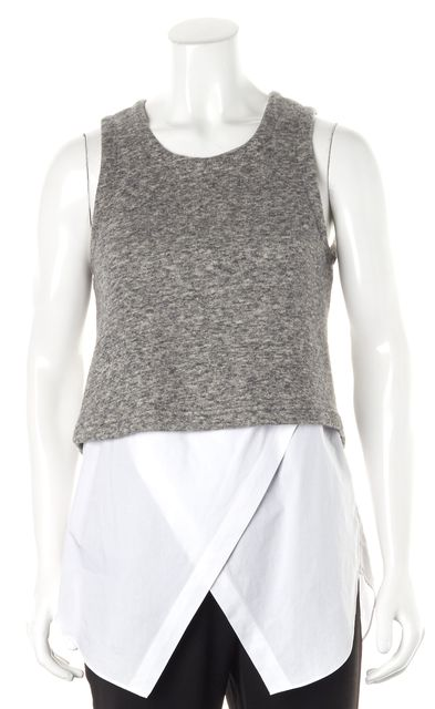 DEREK LAM 10 CROSBY Heather Gray Terry White Layered Sleeveless Blouse Top