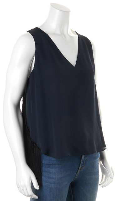 DEREK LAM 10 CROSBY Navy Blue Tassel Fringe Embellished Silk Blouse Top