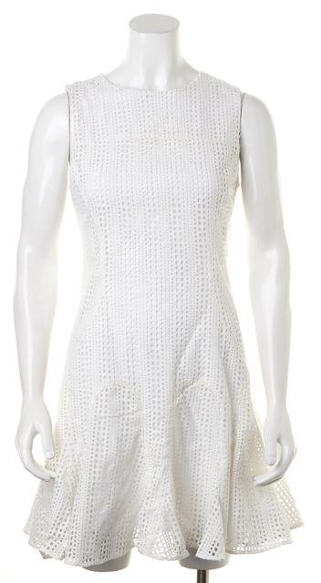 DEREK LAM 10 CROSBY White Cotton Eyelet Sleeveless Fit & Flare Dress