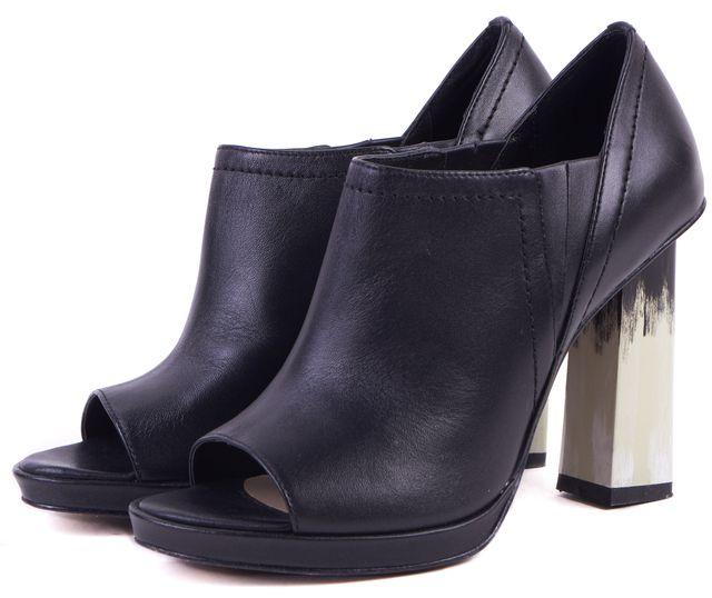 DEREK LAM 10 CROSBY Black White Leather Open Toe Janen Ankle Boot Heels